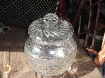 ELEGANT CUT & CRYSTAL GLASS STORAGE JAR & LID PRISM KNOB WONDERFUL CUTS